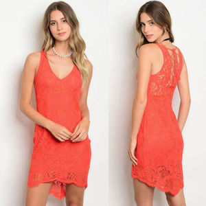 Dresses & Skirts - Orange Red dress with lace details, sleeveless